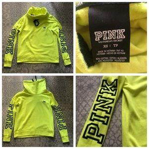 💛neon yellow PINK turtleneck sweater XS